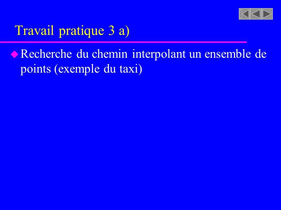 Travail pratique 3 a) u Recherche du chemin interpolant un ensemble de points (exemple du taxi)