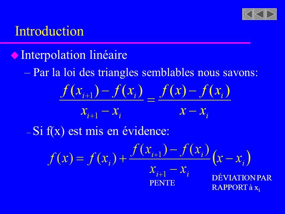 Introduction u Interpolation linéaire –Par la loi des triangles semblables nous savons: – Si f(x) est mis en évidence: PENTE DÉVIATION PAR RAPPORT à x i