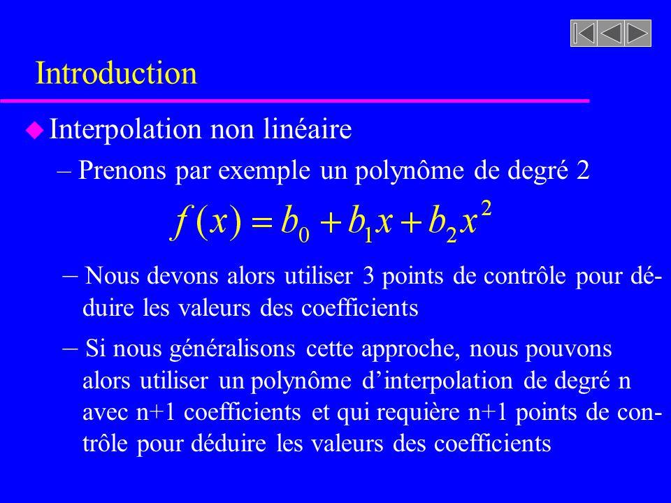 Introduction u Interpolation non linéaire –Prenons par exemple un polynôme de degré 2 – Nous devons alors utiliser 3 points de contrôle pour dé- duire les valeurs des coefficients – Si nous généralisons cette approche, nous pouvons alors utiliser un polynôme dinterpolation de degré n avec n+1 coefficients et qui requière n+1 points de con- trôle pour déduire les valeurs des coefficients
