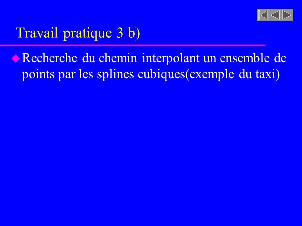 Travail pratique 3 b) u Recherche du chemin interpolant un ensemble de points par les splines cubiques(exemple du taxi)