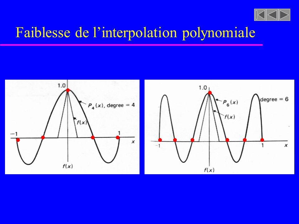 Interpolation par splines cubiques u Splines cubiques –Puisque S i est cubique sur lintervalle [x i,x i+1 ], S i est alors linéaire sur lintervalle i et prend la forme:
