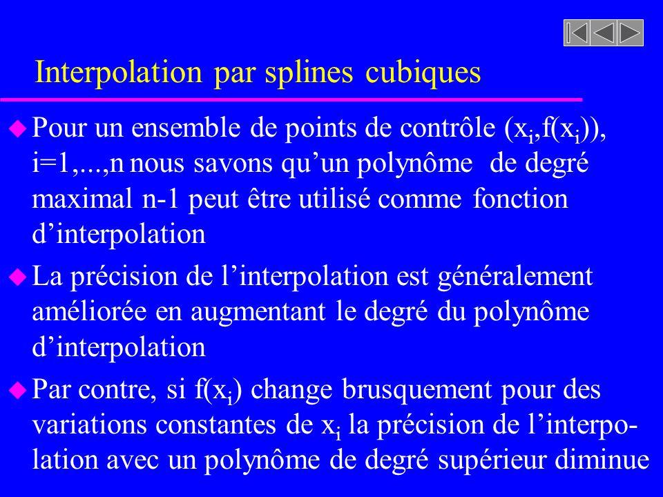 Interpolation par splines cubiques u Pour un ensemble de points de contrôle (x i,f(x i )), i=1,...,n nous savons quun polynôme de degré maximal n-1 pe