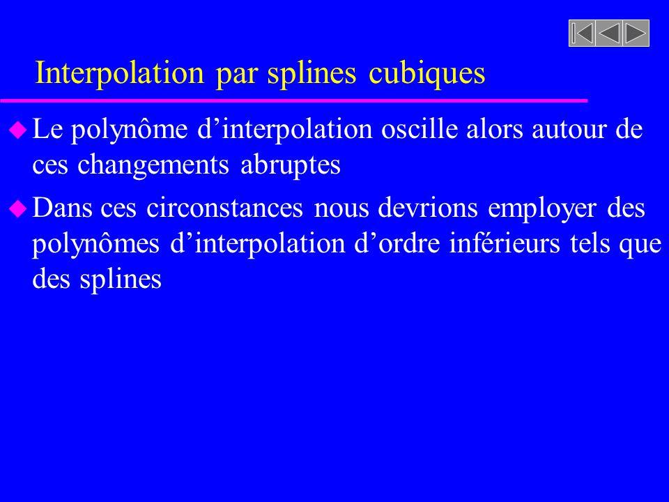 Interpolation par splines cubiques u Le polynôme dinterpolation oscille alors autour de ces changements abruptes u Dans ces circonstances nous devrion