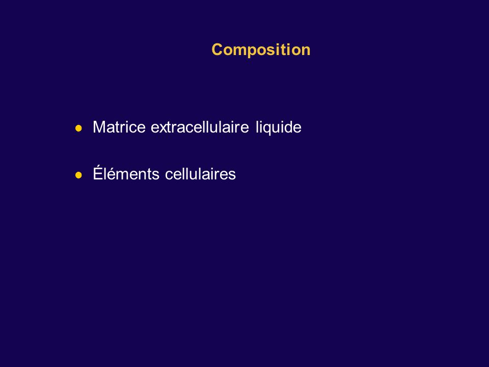 Matrice extracellulaire liquide Éléments cellulaires Composition