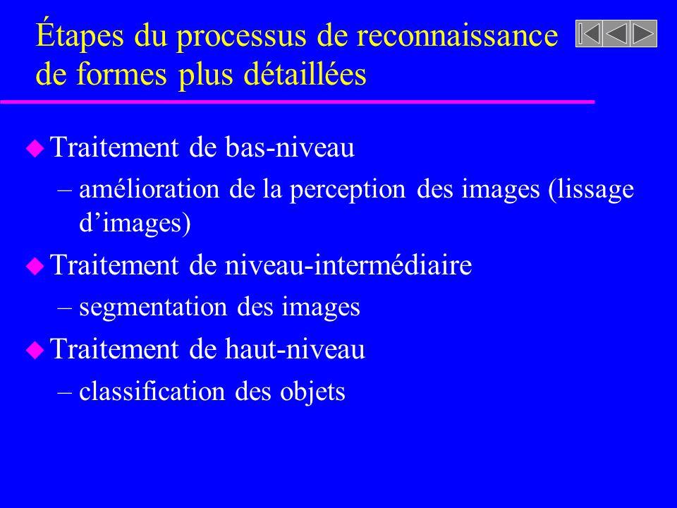 u Traitement de bas-niveau –amélioration de la perception des images (lissage dimages) u Traitement de niveau-intermédiaire –segmentation des images u