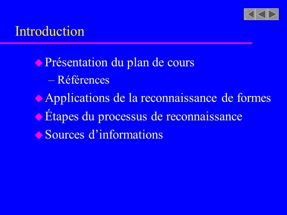 Introduction u Présentation du plan de cours –Références u Applications de la reconnaissance de formes u Étapes du processus de reconnaissance u Sourc