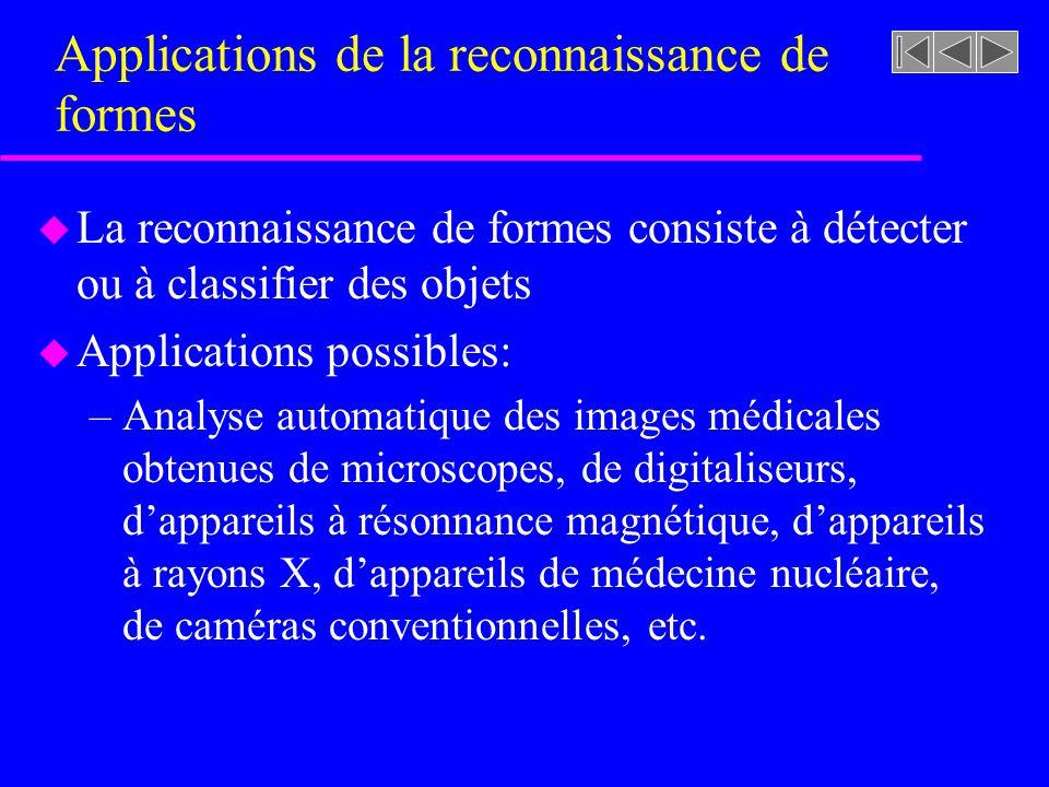 Applications de la reconnaissance de formes u La reconnaissance de formes consiste à détecter ou à classifier des objets u Applications possibles: –An