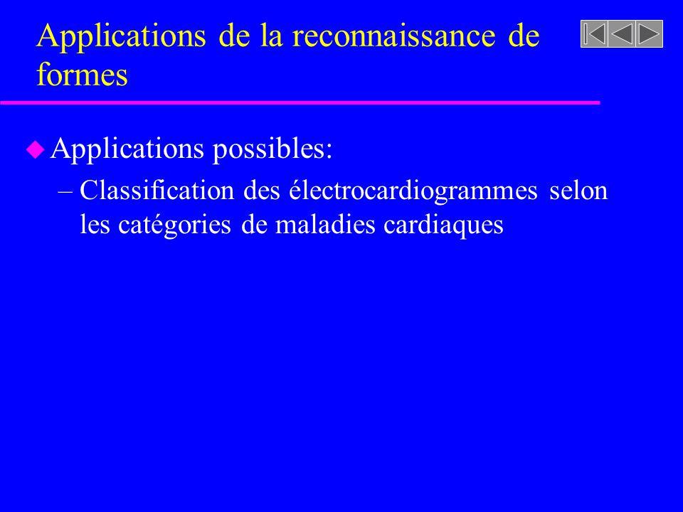 Applications de la reconnaissance de formes u Applications possibles: –Classification des électrocardiogrammes selon les catégories de maladies cardia