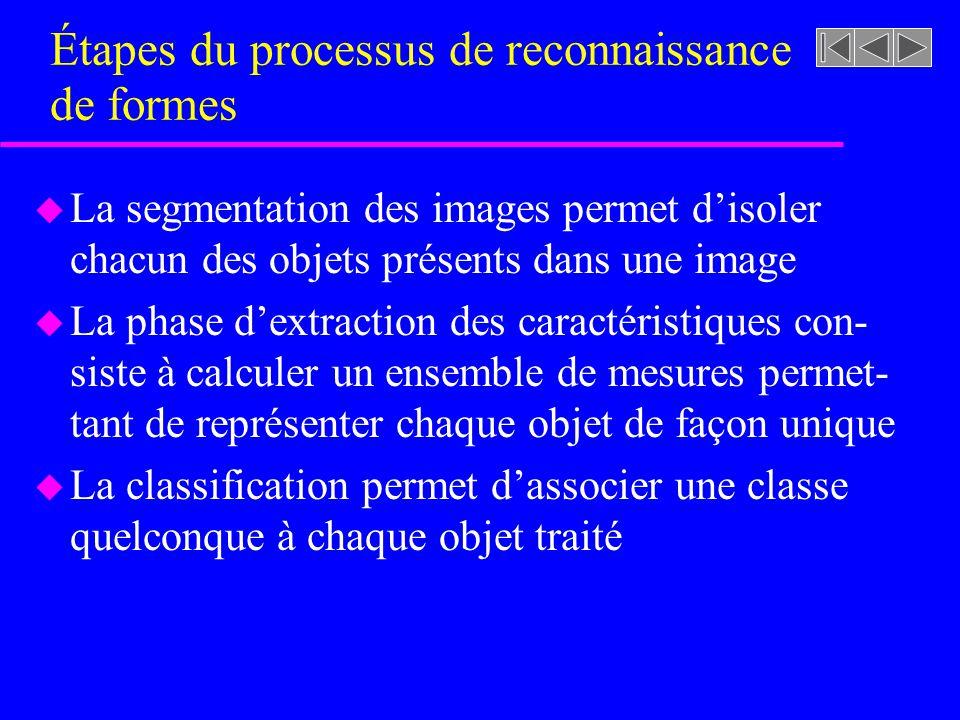 u La segmentation des images permet disoler chacun des objets présents dans une image u La phase dextraction des caractéristiques con- siste à calcule