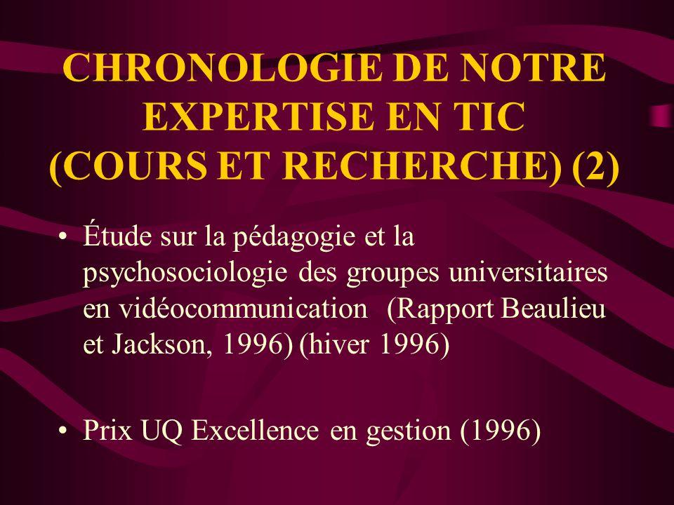 CHRONOLOGIE DE NOTRE EXPERTISE EN TIC (COURS ET RECHERCHE) Implantation progressive des salles de vidéocommunication (été 1995) Premiers cours (6 cours sur 2 sites) (hiver 1996 )