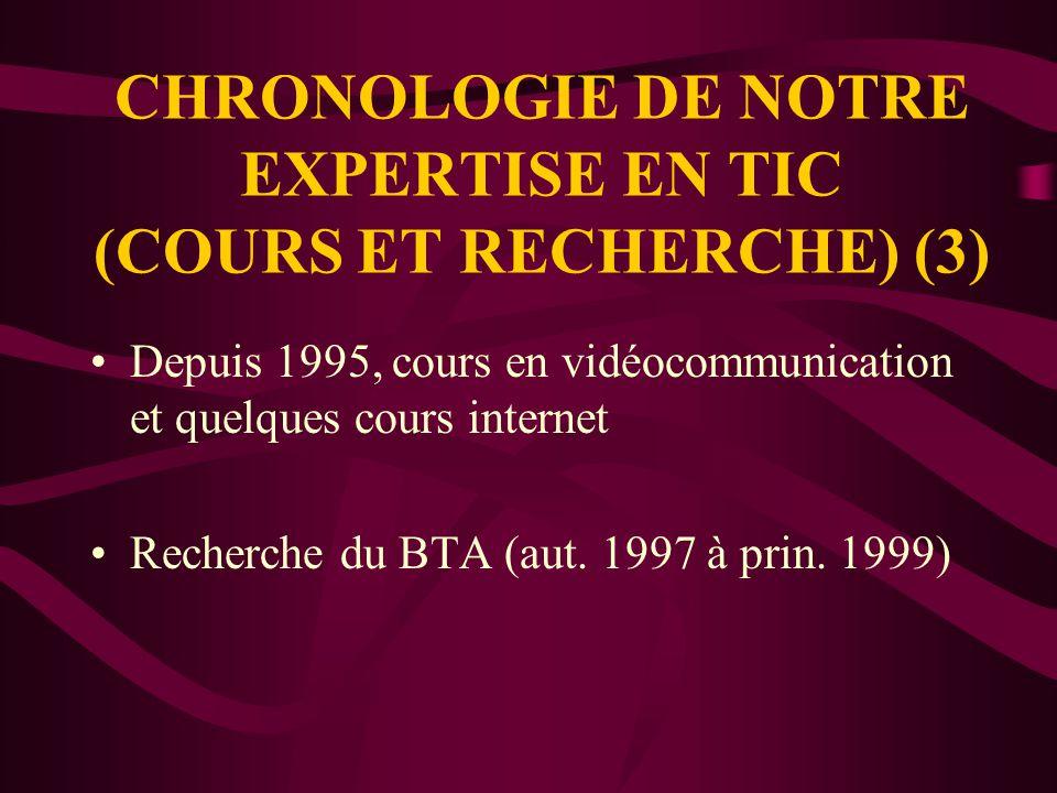 CHRONOLOGIE DE NOTRE EXPERTISE EN TIC (COURS ET RECHERCHE) (2) Étude sur la pédagogie et la psychosociologie des groupes universitaires en vidéocommunication (Rapport Beaulieu et Jackson, 1996) (hiver 1996) Prix UQ Excellence en gestion (1996)