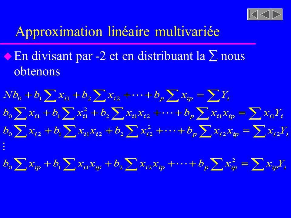 Approximation linéaire multivariée u En divisant par -2 et en distribuant la nous obtenons
