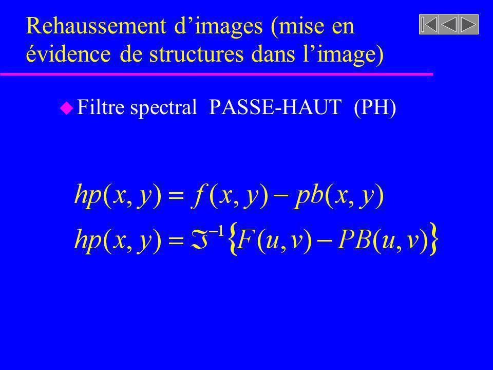 Figure 4.34 [rf. GONZALEZ, p. 208] Filtre spectral PASSE-BAS (PB) 0 1 D0D0 D ( u, ) H ( u, ) 0.5 123 u H ( u, ) (a) Un filtre passe-bas de Butterworth