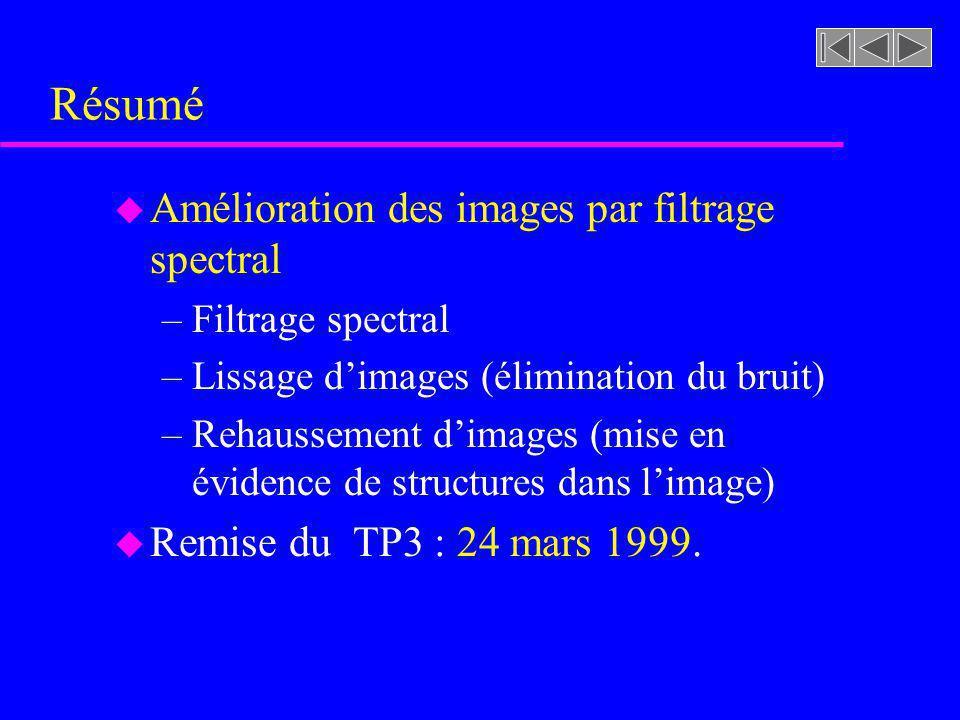 Travail pratique 3 a) u Voir les utilitaires de la transformée de Fourier au répertoire: /u/dmatensr/meunier/sif1033/fourier u Voir plus spécifiquemen