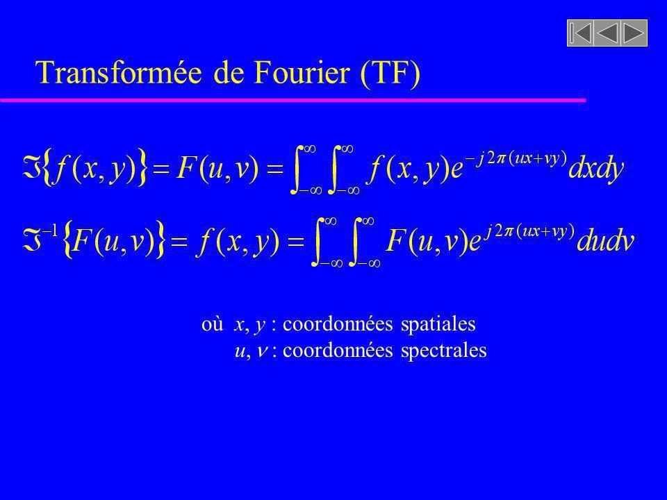 Transformée de Fourier ( représentation du signal dans le domaine spectral )