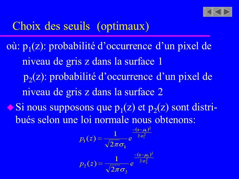u Supposons que nous observons deux surfaces dans une image u La probabilité p(z) davoir une valeur de niveau de gris z dans limage est donnée par: p(