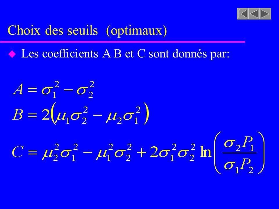 Choix des seuils (optimaux) u Cherchons une valeur de T qui minimise E(T) uAprès simplifications nous obtenons une expression de la forme: