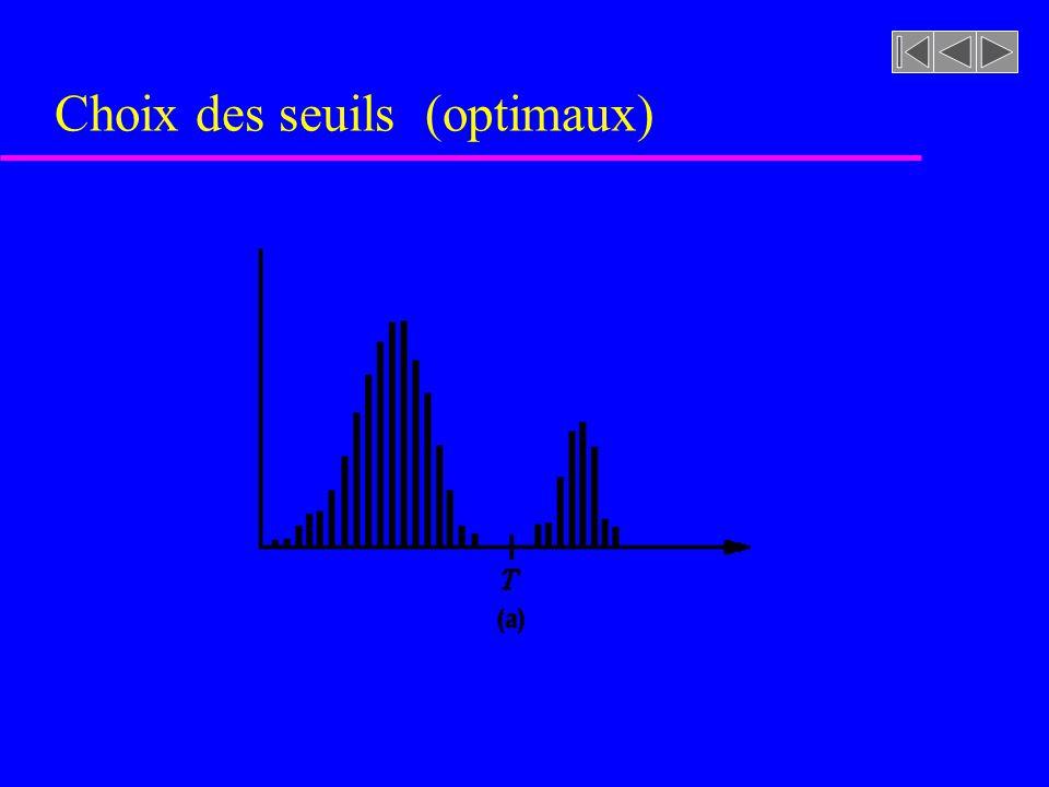 Figure 7.27 [rf. GONZALEZ, p. 448] Choix des seuils (optimaux : c.-à- d. minimisation de la probabilité derreur)