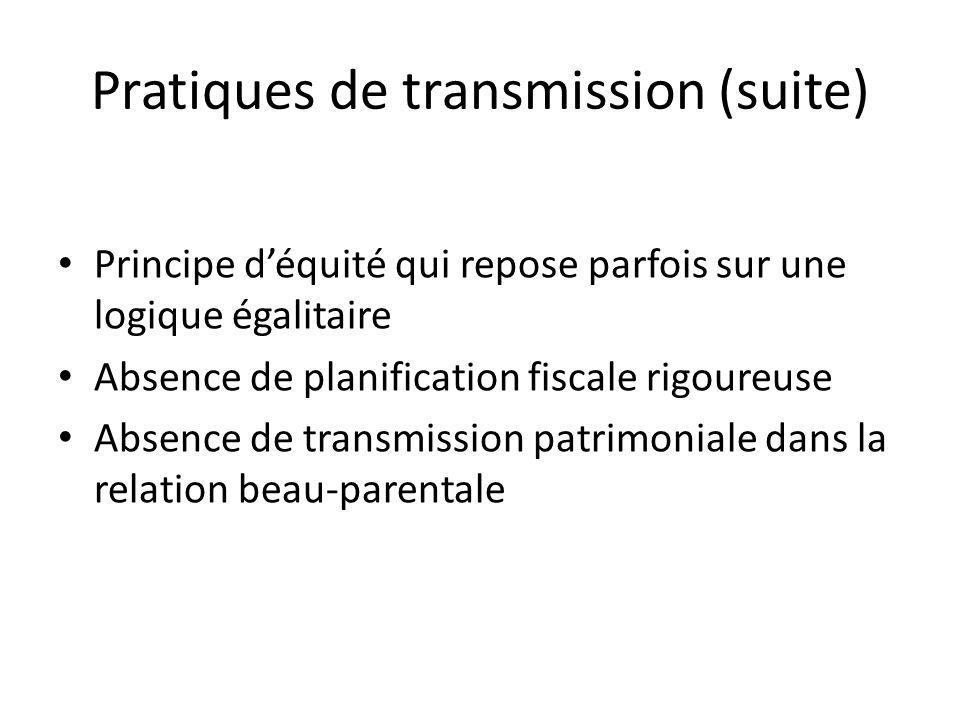 Pratiques de transmission (suite) Principe déquité qui repose parfois sur une logique égalitaire Absence de planification fiscale rigoureuse Absence de transmission patrimoniale dans la relation beau-parentale