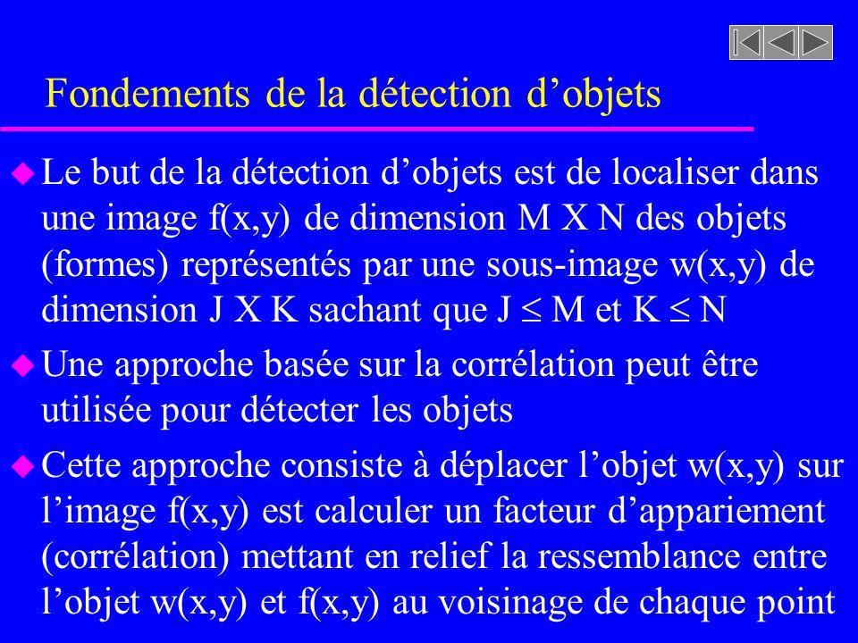 Fondements de la détection dobjets u Le but de la détection dobjets est de localiser dans une image f(x,y) de dimension M X N des objets (formes) représentés par une sous-image w(x,y) de dimension J X K sachant que J M et K N u Une approche basée sur la corrélation peut être utilisée pour détecter les objets u Cette approche consiste à déplacer lobjet w(x,y) sur limage f(x,y) est calculer un facteur dappariement (corrélation) mettant en relief la ressemblance entre lobjet w(x,y) et f(x,y) au voisinage de chaque point