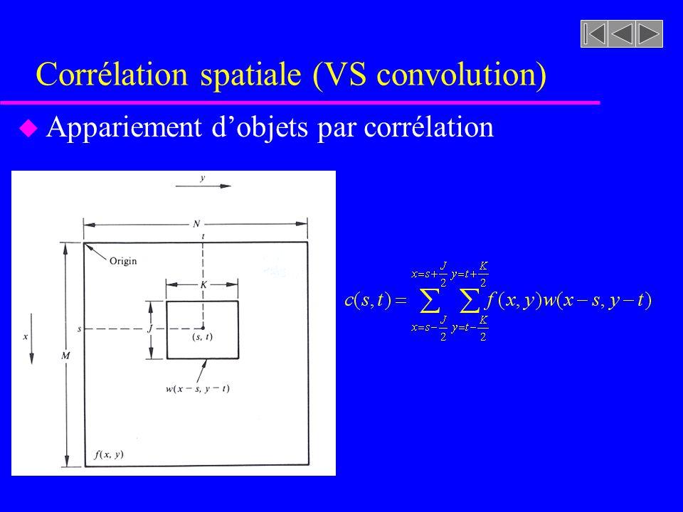 Corrélation spatiale (VS convolution) u Appariement dobjets par corrélation