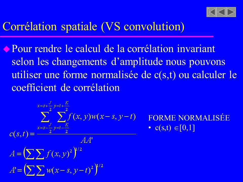Corrélation spatiale (VS convolution) u Alors, pour chaque point s,t de notre image, nous calculons la valeur de c(s,t) correspondant à la corrélation entre w(x,y) et f(x,y) u Une valeur maximale de c(s,t) correspond à un appariement optimal de w(x,y) et f(x,y) u Le calcul de c(s,t) est par contre sensible aux changements damplitude de w et f