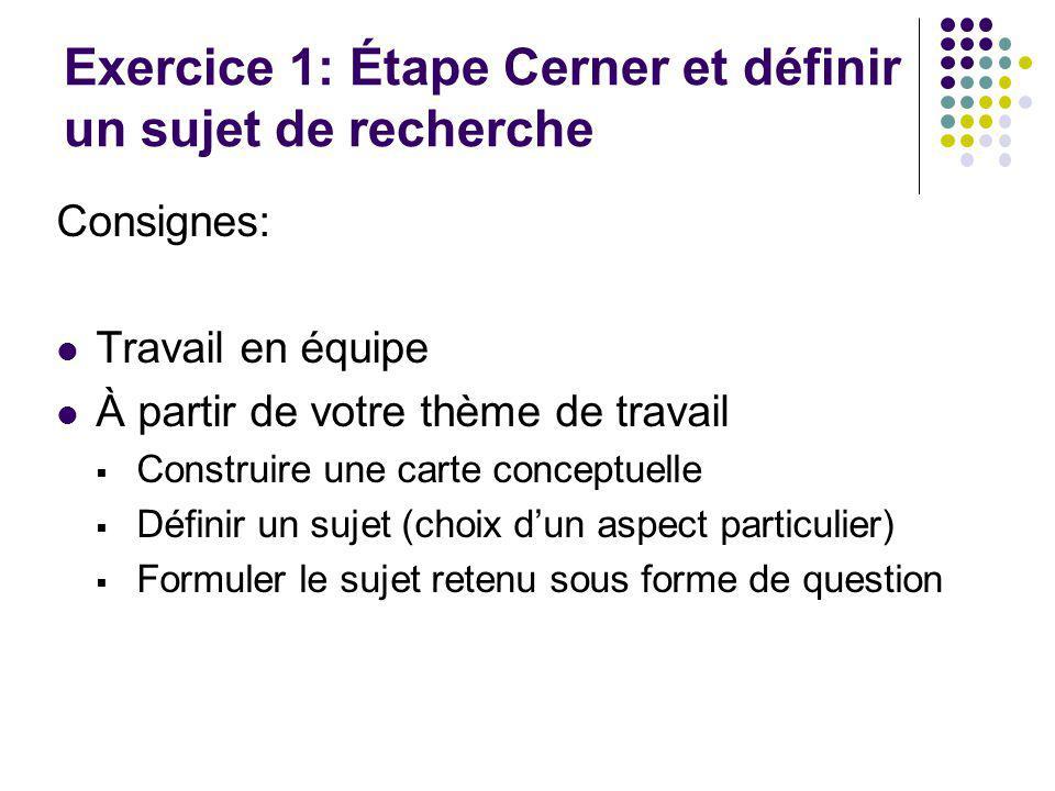 Exercice 3 : Objectifs Développer des réflexes de chercheur Sadapter aux différences dinterfaces de vocabulaire (mot-clé, sujet ou descripteur) de limitations de recherches, troncature, etc.