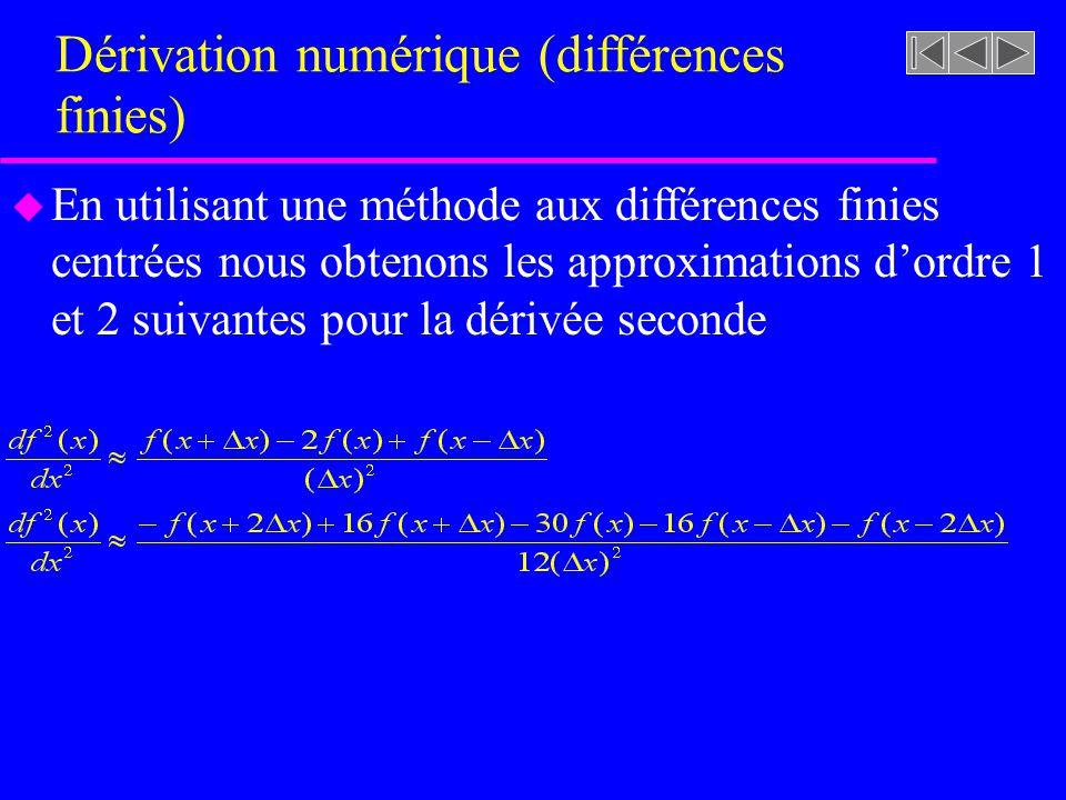 Dérivation numérique (différences finies) u En utilisant une méthode aux différences finies centrées nous obtenons les approximations dordre 1 et 2 suivantes pour la dérivée seconde