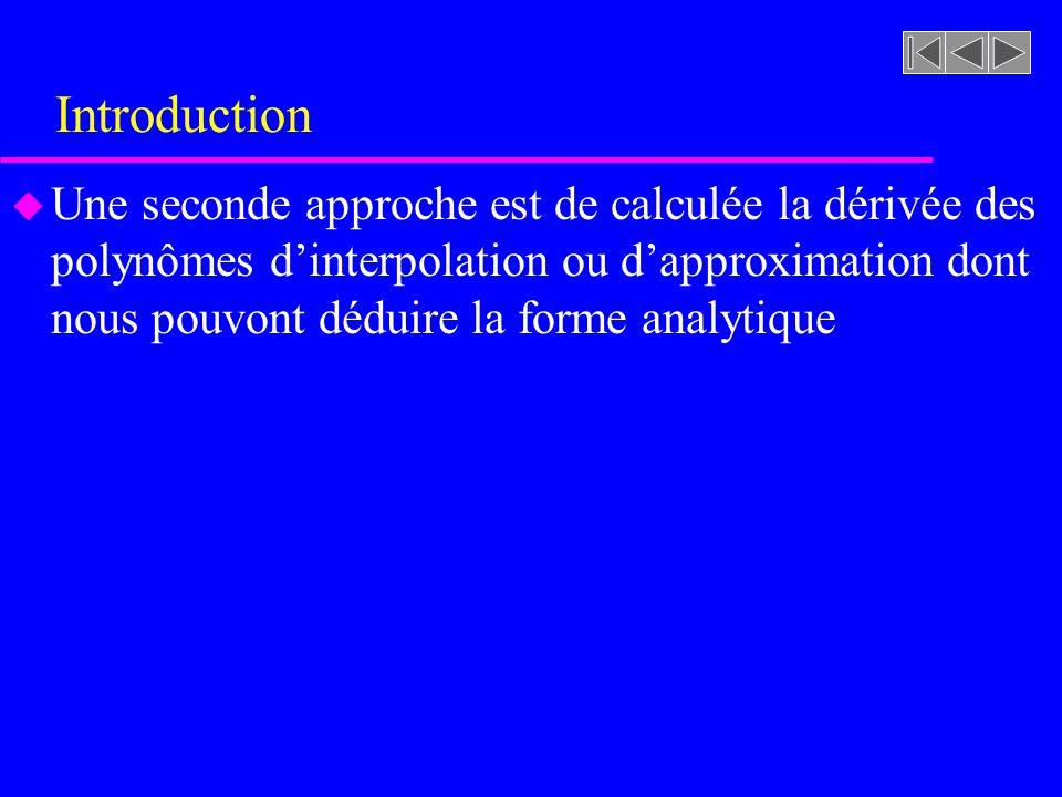 Introduction u Une seconde approche est de calculée la dérivée des polynômes dinterpolation ou dapproximation dont nous pouvont déduire la forme analy