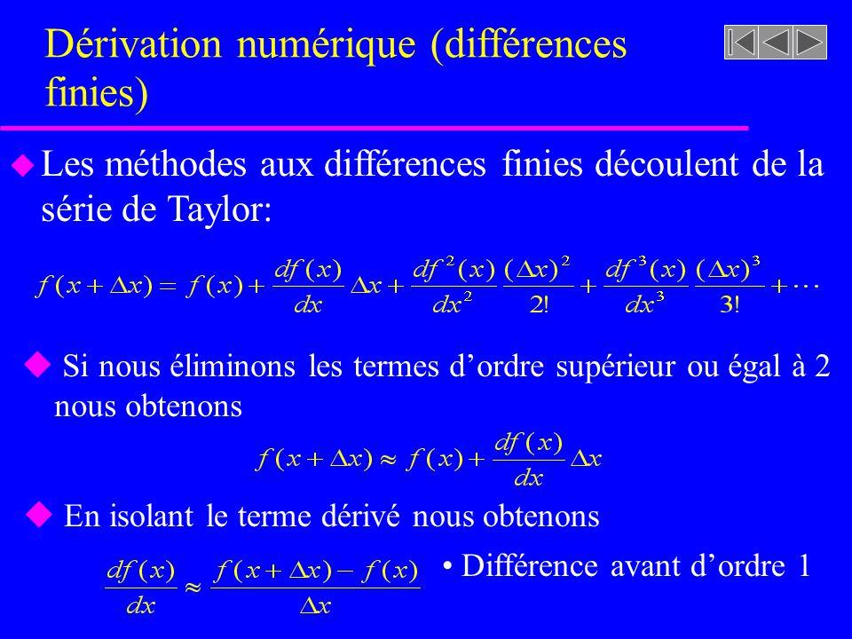 Dérivation numérique (différences finies) u Les méthodes aux différences finies découlent de la série de Taylor: u Si nous éliminons les termes dordre supérieur ou égal à 2 nous obtenons u En isolant le terme dérivé nous obtenons Différence avant dordre 1