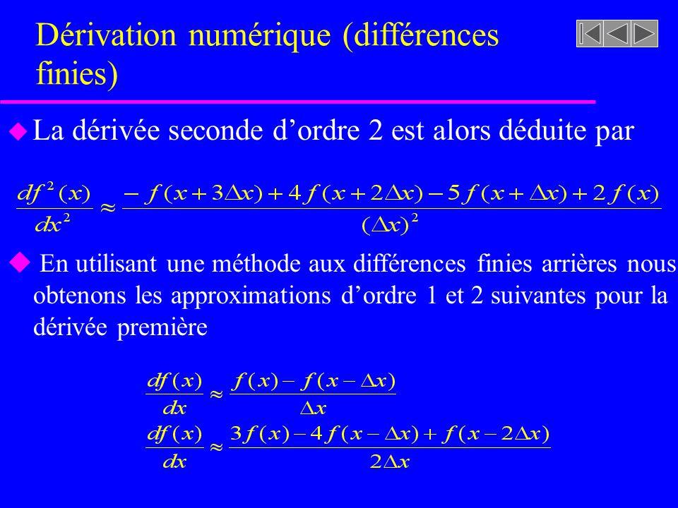 Dérivation numérique (différences finies) u La dérivée seconde dordre 2 est alors déduite par u En utilisant une méthode aux différences finies arrières nous obtenons les approximations dordre 1 et 2 suivantes pour la dérivée première