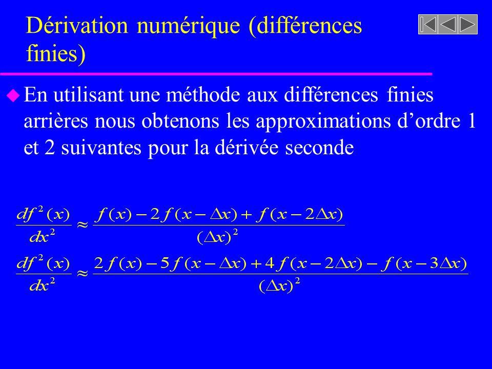 Dérivation numérique (différences finies) u En utilisant une méthode aux différences finies centrées nous obtenons les approximations dordre 1 et 2 suivantes pour la dérivée première