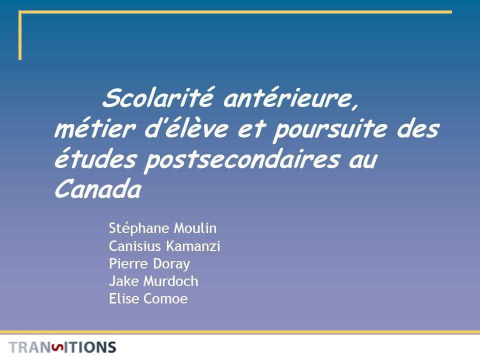 Scolarité antérieure, métier délève et poursuite des études postsecondaires au Canada Stéphane Moulin Canisius Kamanzi Pierre Doray Jake Murdoch Elise