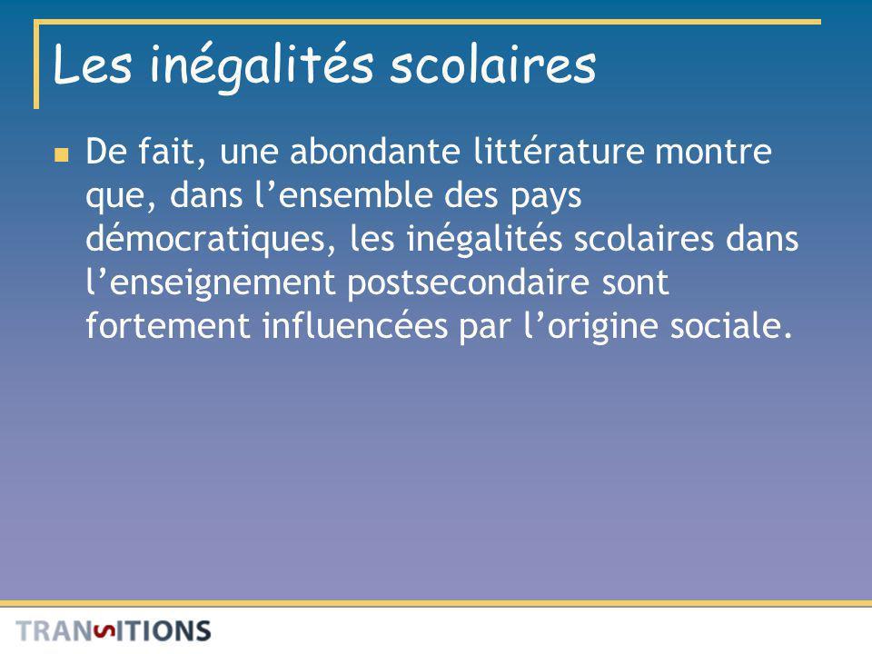 Les inégalités scolaires De fait, une abondante littérature montre que, dans lensemble des pays démocratiques, les inégalités scolaires dans lenseigne