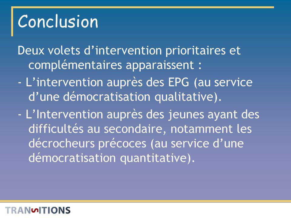 Conclusion Deux volets dintervention prioritaires et complémentaires apparaissent : - Lintervention auprès des EPG (au service dune démocratisation qu