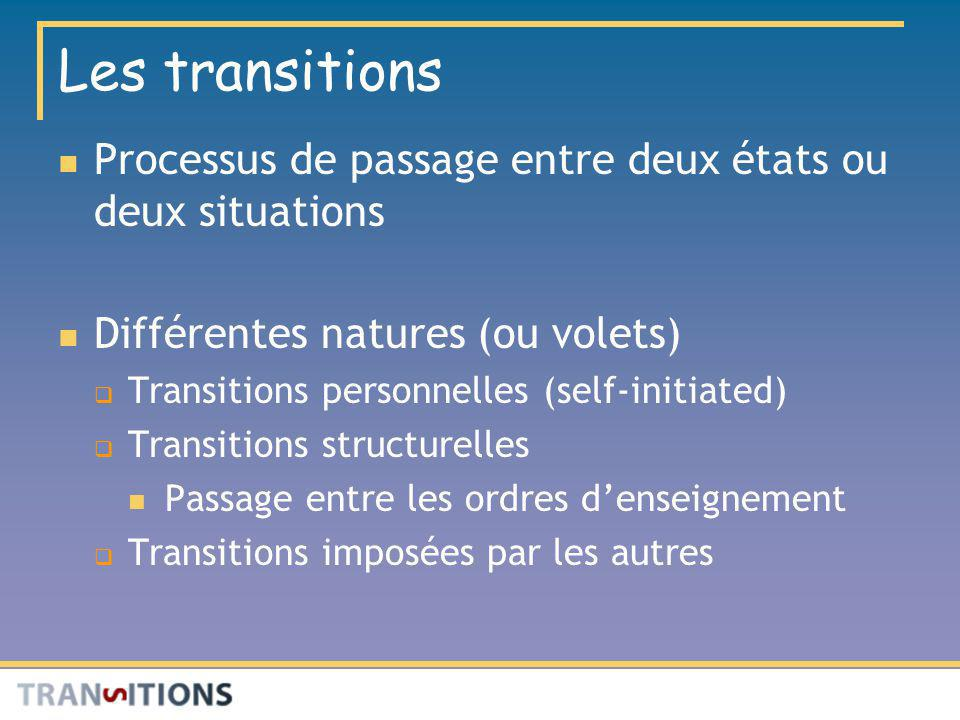 Les transitions Processus de passage entre deux états ou deux situations Différentes natures (ou volets) Transitions personnelles (self-initiated) Tra