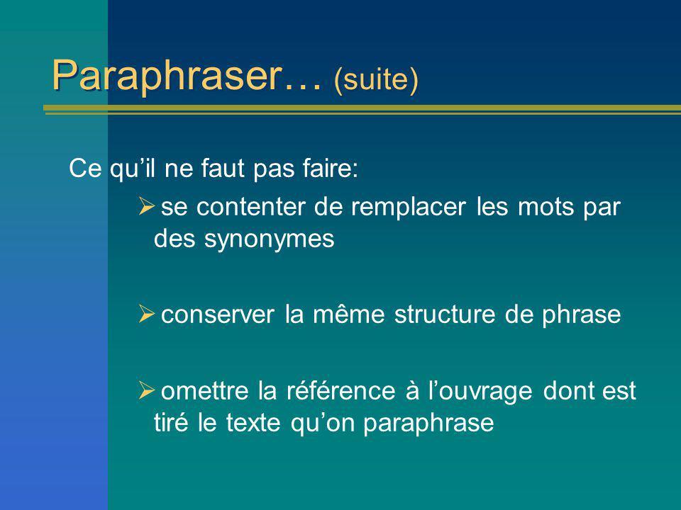 Paraphraser… (suite) Ce quil ne faut pas faire: se contenter de remplacer les mots par des synonymes conserver la même structure de phrase omettre la référence à louvrage dont est tiré le texte quon paraphrase