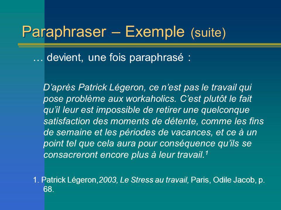 Paraphraser – Exemple (suite) … devient, une fois paraphrasé : Daprès Patrick Légeron, ce nest pas le travail qui pose problème aux workaholics.
