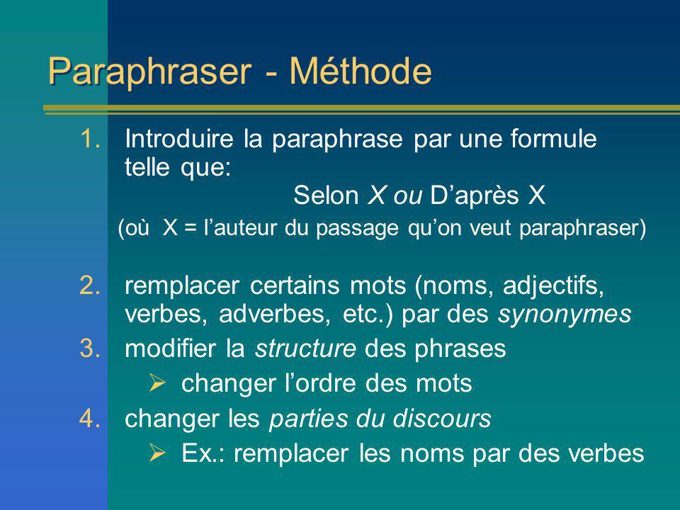Paraphraser - Méthode 1.Introduire la paraphrase par une formule telle que: Selon X ou Daprès X (où X = lauteur du passage quon veut paraphraser) 2.remplacer certains mots (noms, adjectifs, verbes, adverbes, etc.) par des synonymes 3.modifier la structure des phrases changer lordre des mots 4.changer les parties du discours Ex.: remplacer les noms par des verbes