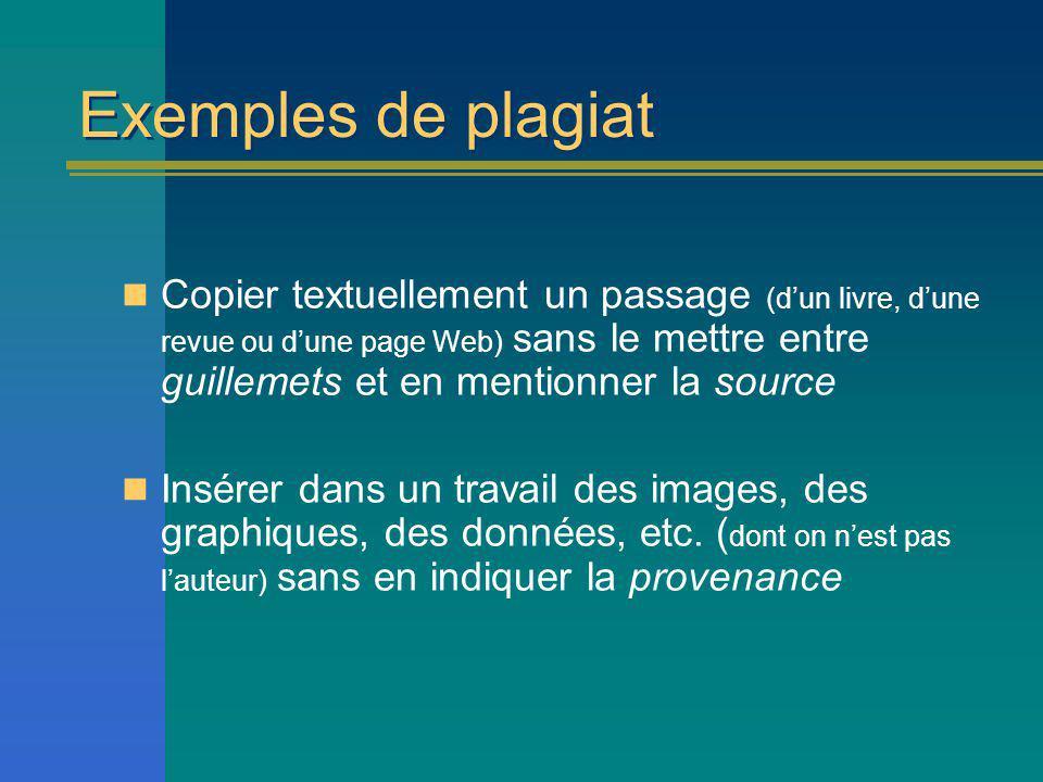 Exemples de plagiat Copier textuellement un passage (dun livre, dune revue ou dune page Web) sans le mettre entre guillemets et en mentionner la source Insérer dans un travail des images, des graphiques, des données, etc.