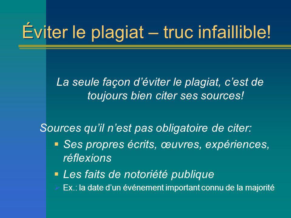 Paraphraser – Plus dinfos Consulter InfoSphèreInfoSphère http://www.bibliotheques.uqam.ca/InfoSphere/ fichiers_communs/module7/paraphrase.html