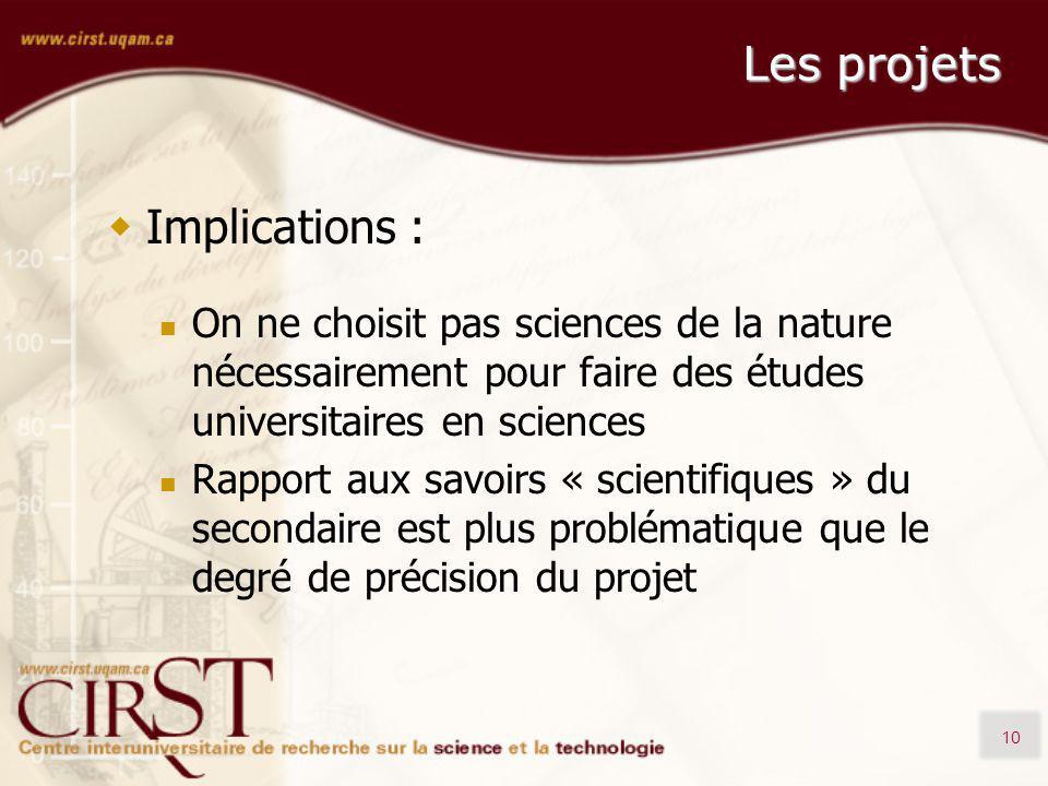 10 Les projets Implications : On ne choisit pas sciences de la nature nécessairement pour faire des études universitaires en sciences Rapport aux savo