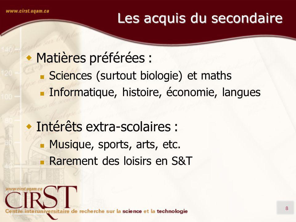 8 Les acquis du secondaire Matières préférées : Sciences (surtout biologie) et maths Informatique, histoire, économie, langues Intérêts extra-scolaires : Musique, sports, arts, etc.