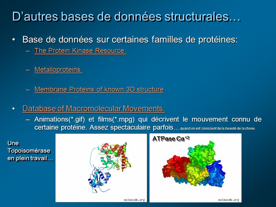 Dautres bases de données structurales… Base de données sur certaines familles de protéines:Base de données sur certaines familles de protéines: –The Protein Kinase Resource.