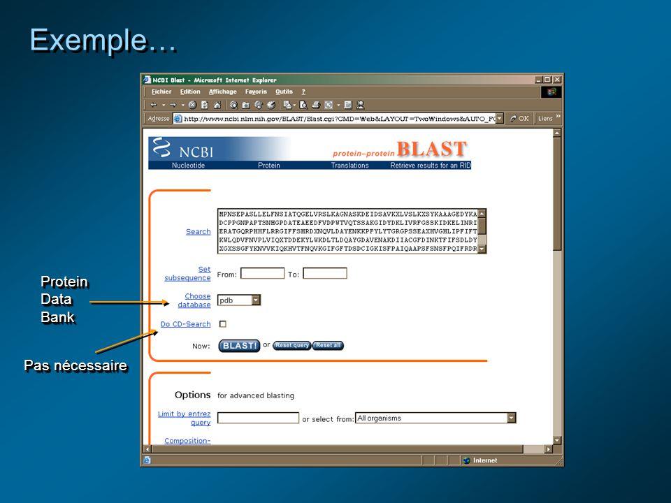 Exemple… Protein Data Bank Pas nécessaire