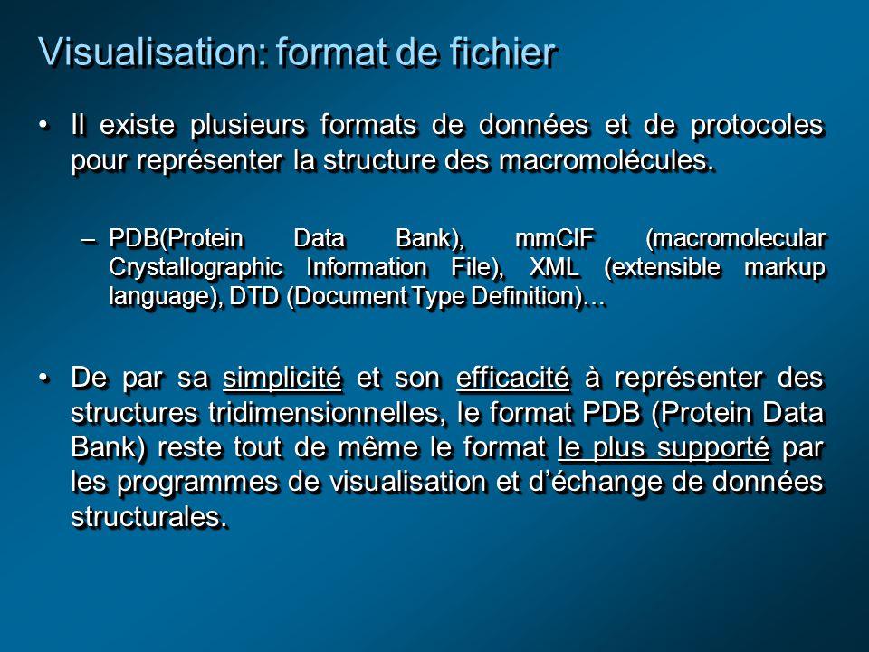 Visualisation: format de fichier Il existe plusieurs formats de données et de protocoles pour représenter la structure des macromolécules.Il existe plusieurs formats de données et de protocoles pour représenter la structure des macromolécules.