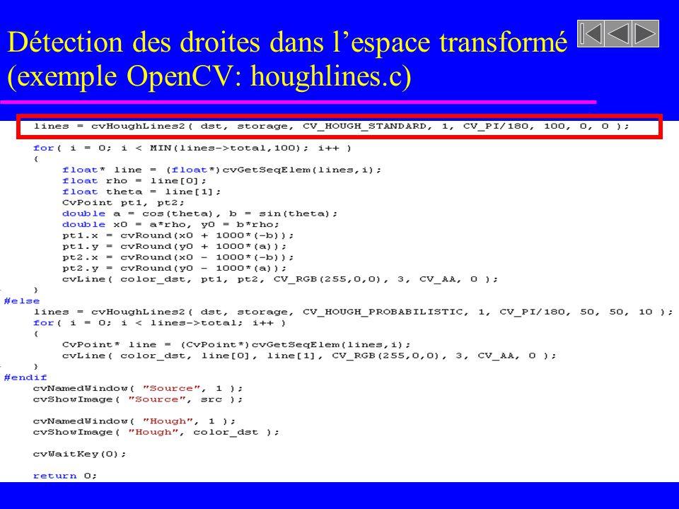 Détection des droites dans lespace transformé (exemple OpenCV: houghlines.c)