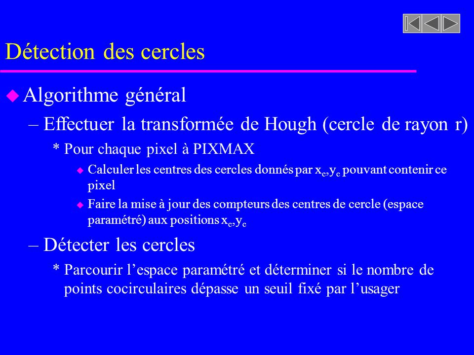 Détection des cercles u Expression du cercle en coordonnées polaires u Lespace projeté est paramétré par x c et y c donnés par