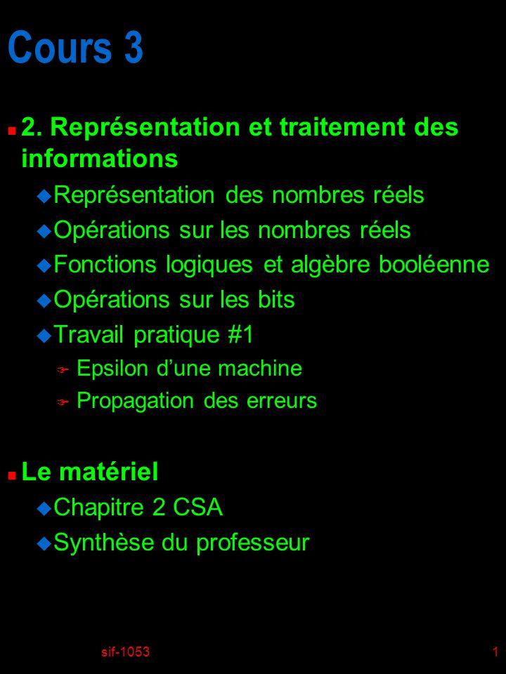 sif-10531 Cours 3 n 2. Représentation et traitement des informations u Représentation des nombres réels u Opérations sur les nombres réels u Fonctions