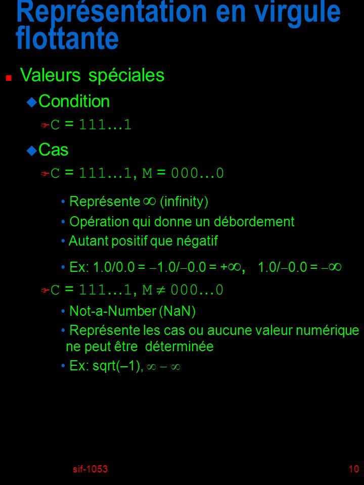sif-105310 Représentation en virgule flottante n Valeurs spéciales u Condition C = 111 … 1 u Cas C = 111 … 1, M = 000 … 0 Représente (infinity) Opération qui donne un débordement Autant positif que négatif Ex: 1.0/0.0 = 1.0/ 0.0 = +, 1.0/ 0.0 = C = 111 … 1, M 000 … 0 Not-a-Number (NaN) Représente les cas ou aucune valeur numérique ne peut être déterminée Ex: sqrt(–1),